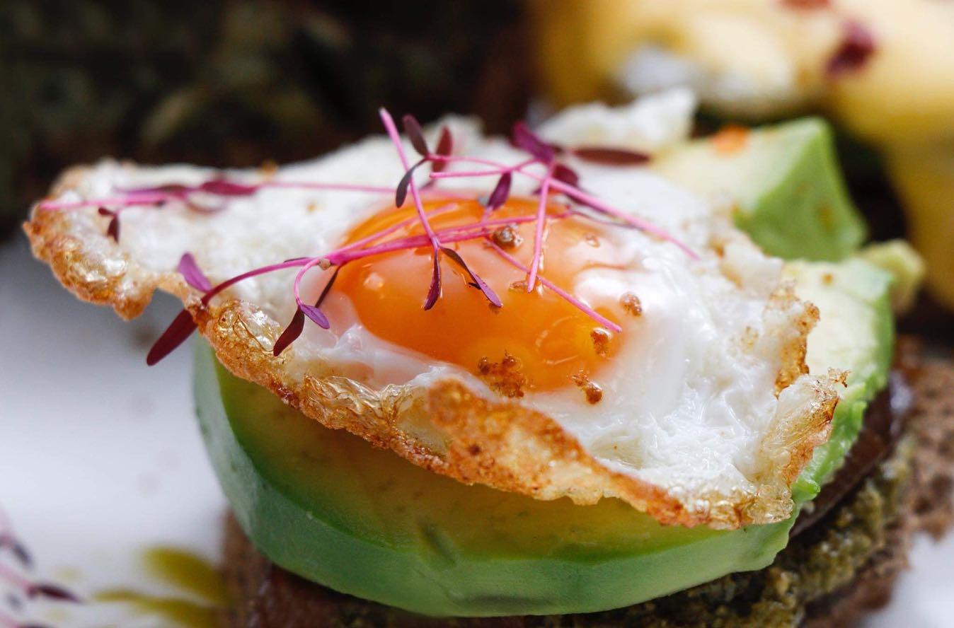 Avocado toast breakfast at Kikliko, Tbilisi.